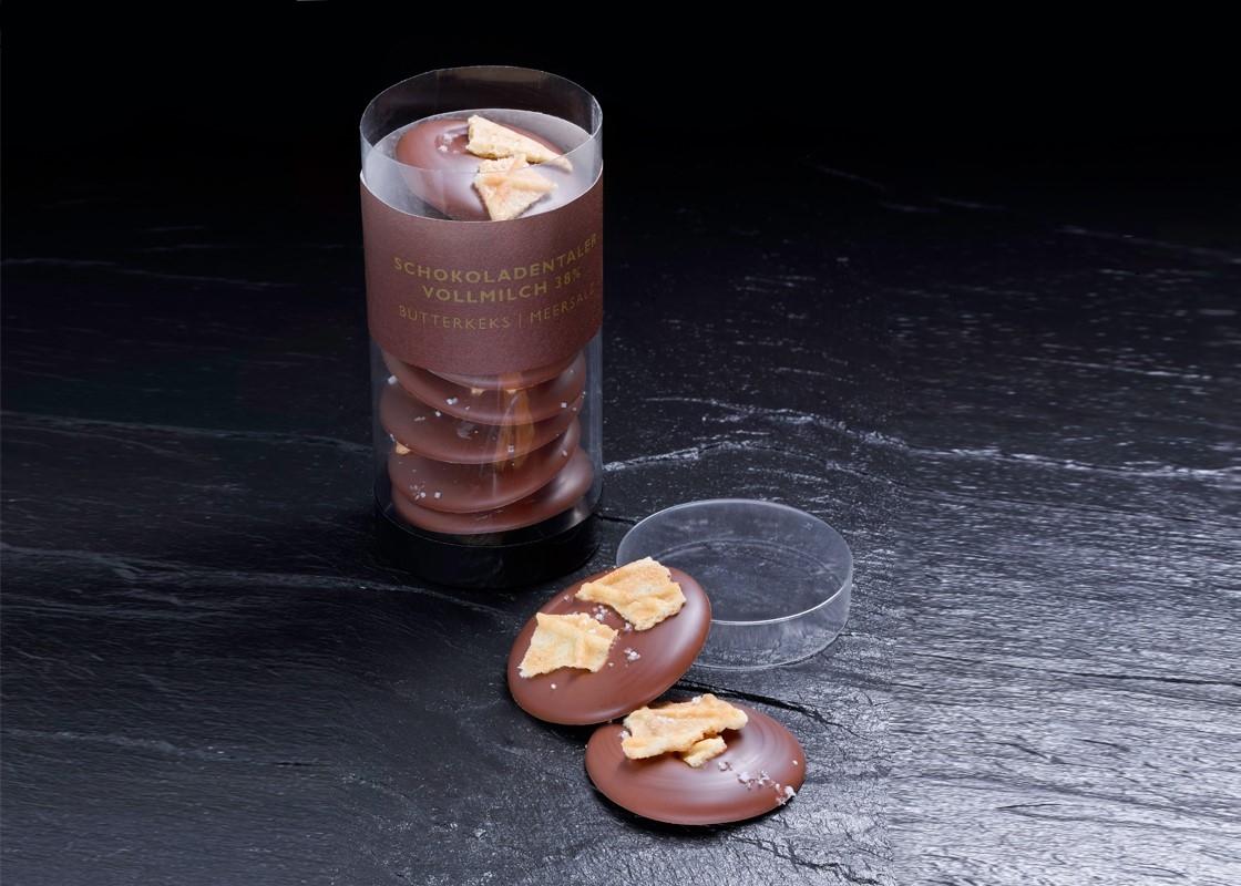 Vollmilch Schokoladen Taler mit Butterkeks | Meersalz